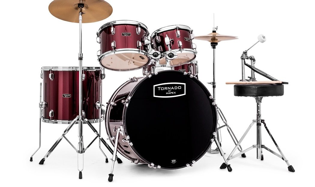 Mapex tornado rock drum kit with 22 bass drum in red for 16x14 floor tom