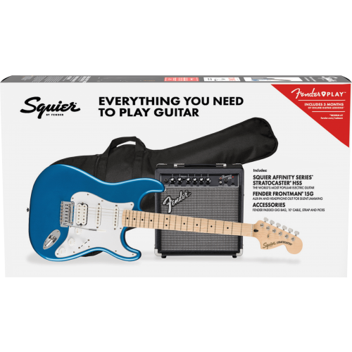 Squier Affinity Stratocaster HSS 15G Package (Lake Placid Blue)